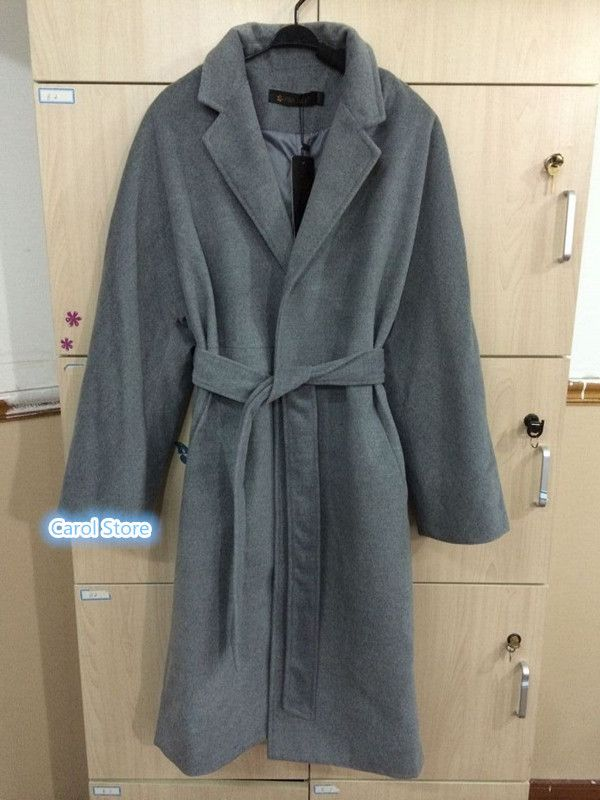 Women Notched Collar Long Overcoat With Sashes Fashion OL Office Ladies' Coat Spring Autumn Plus SIze XL Outwear