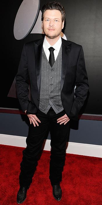 "Blake Sheldon makes looking suave look easy. Are you diggin' ""The Voice"" judge's silver (-vested) fox getup?"