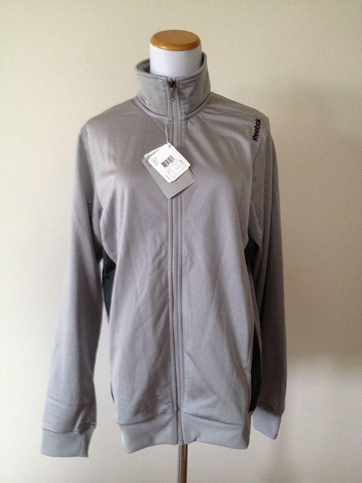 Reebok Silver Gray Track Jacket Coat Windbreaker Mens Size XL #Reebok #Windbreaker
