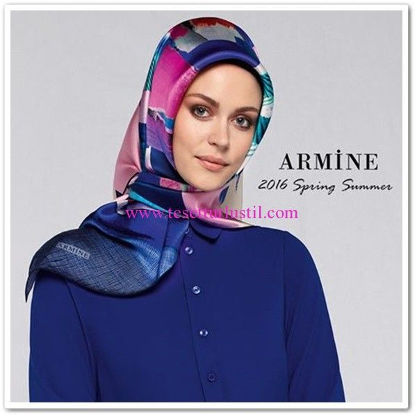 Armine 2016 mavi desenli eşarp