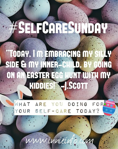 #SELFCARESUNDAY WEEK 3   So, today's #selfcaresunday just happens to fall on #easter   I could ramble on about indulging in #chocolate  but instead, I decided to talk about the fact that today, I've got a few #selfcare things going on…  Firstly, I'll be embracing my #silly side for a little while, & going on an #egghunt with my kids. Which is good for me, because I often get in my head so much that I forget to have fun & laugh lots.   Then, later in the day...
