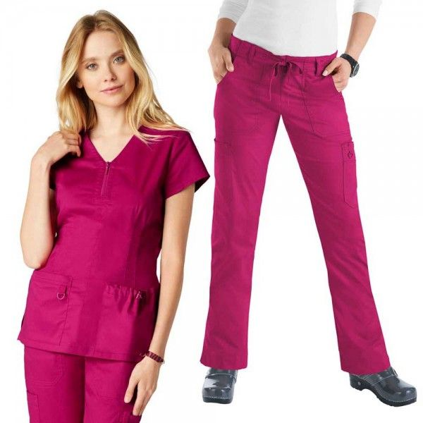 Koi Stretch Set in Lipstick.The Set features the Koi Mackenzie scrub top and Koi Stretch Lindsey scrub trousers. The koi Mackenzie scrub top features a stylish topstitched zipper at the front. Do you like a more figure hugging scrub trouser leg? then the koi Stretch Lindsey Scrub Trousers are perfect for you they also are flattering but with an extra stretch for comfort.  £59.99  #nursescrubs #dentistscrubs #nurses #dentists #pinkscrubs #nurseuniform