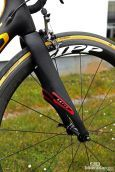 Tom Boonen (Omega Pharma-QuickStep) was set to tackle the brutal pavé on Zipp 303 Firecrest carbon rims and 27mm-wide FMB Paris-Roubaix tubulars