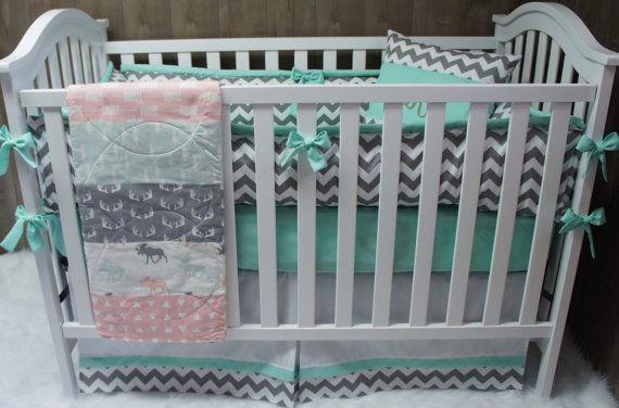 Baby Girl Nursery Bedding  Crib Set  Woodland  Moose  by Babylooms