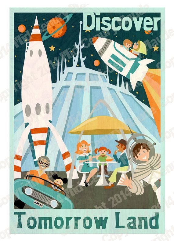 A mid-century modern style poster advertising a visit to Tomorrow Land at Disneyland! This retro space style fine art print with a distinct 1950s