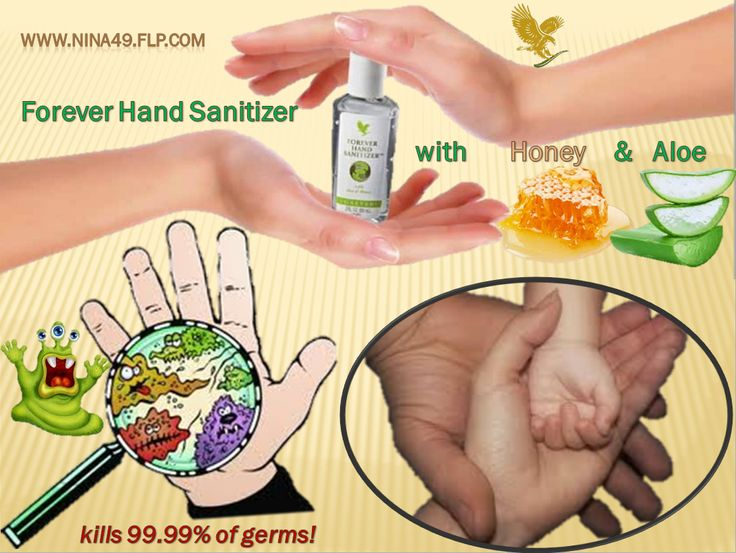 Forever Hand Sanitizer Forever Hand Sanitizer® is designed to kill 99.99% of germs. Our moisturizing formula contains skin-soothing stabilized Aloe Vera gel along with the hydrating goodness of honey. Order at www.nina49.flp.com