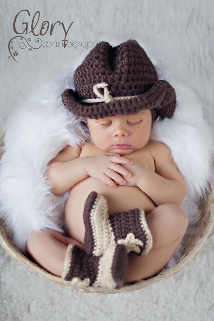 Newborn cowboy hat and boots. $45.00, via Etsy.