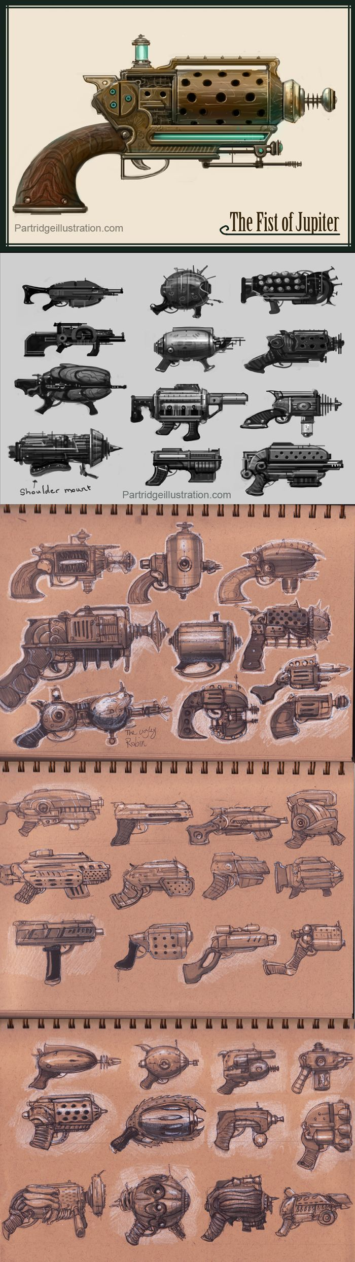 The Art of Richard Partridge - Steampunk Gun: The Fist of Jupiter, Retro futurism back to the future tomorrow tomorrowland space spaceship planet planets starship stars starbase spaceport age sci-fi science fiction pulp martians BEM's alien aliens ray raygun blaster phaser