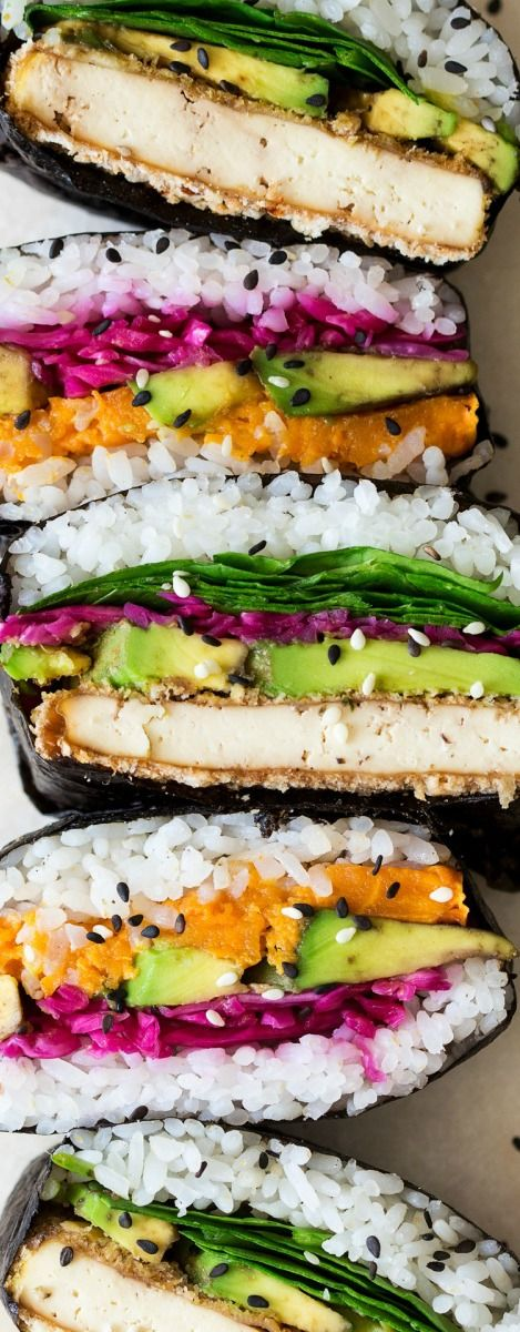 Onigirazu Sushi Sandwich ~ A great way to enjoy your sushi on the go... Our version has a vegan filling of katsu tofu and sweet potato.