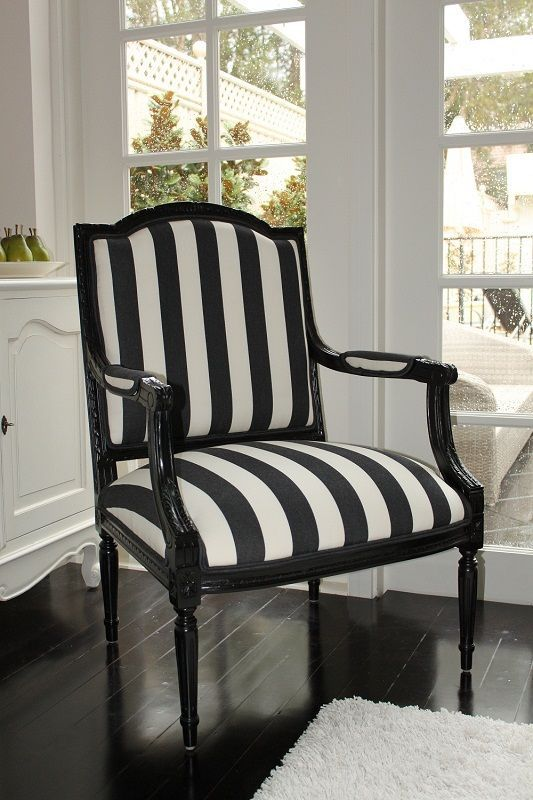 black and white stripe french chair - Black And White Chairs Living Room