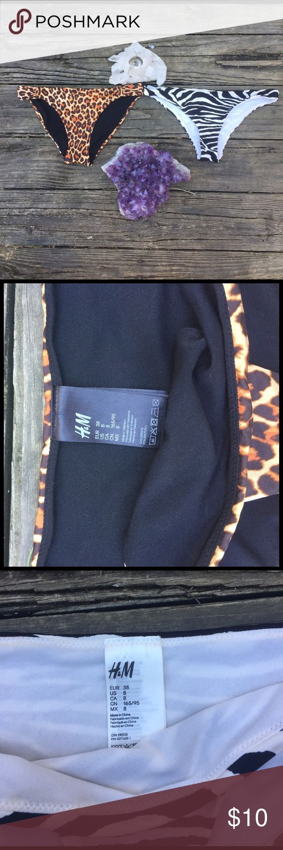 Animal Print Bikini Bottoms Bundle H&M BOGO! These both have barely been worn. Each says they are size 8 but fit more like a 4 or small 6. The zebra pair does has a small stain on the inside fabric from my clumsy self spilling coffee on the table they were drying on. It is not noticeable on the front. Offers are always welcome! H&M Swim Bikinis