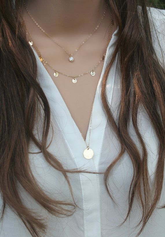 Layered SET of three 3 necklaces cubic zirconia   Size: 17-20-25