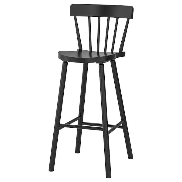 Norraryd Bar Stool With Backrest Black Ikea En 2020 Tabouret De Bar Tabouret De Bar Noir Tabouret