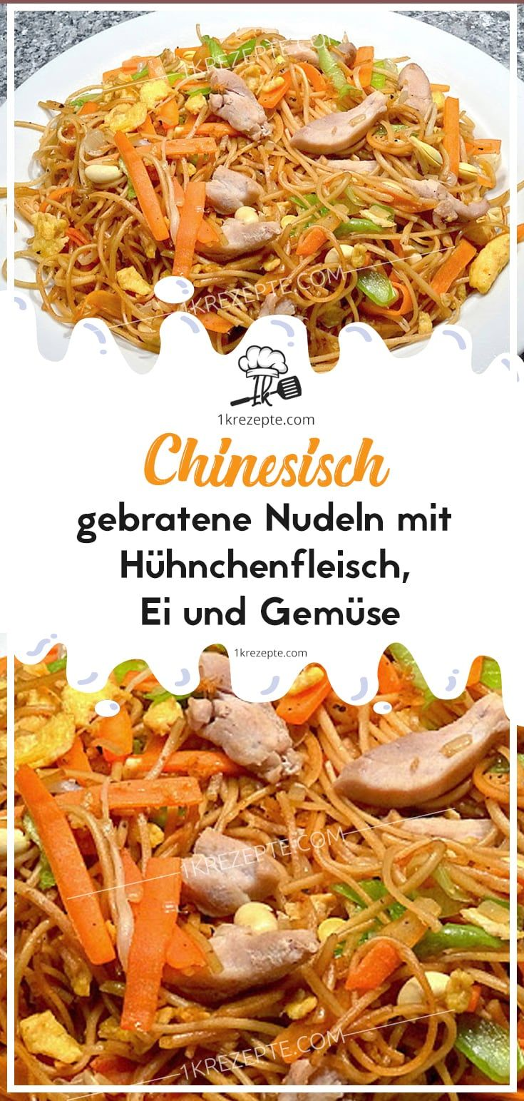 Nouilles chinoises frites avec viande de poulet, oeuf et légumes   – Einfache Rezepte