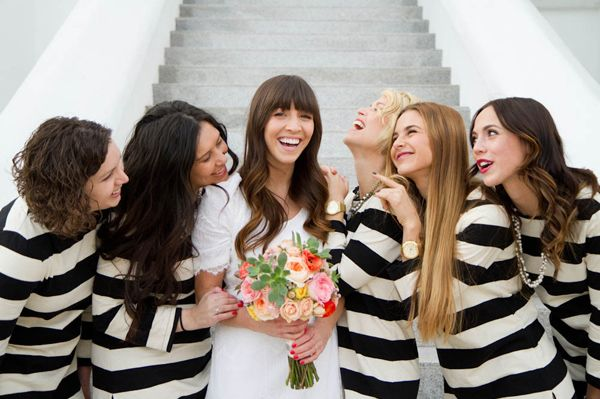 striped bridesmaids dresses | photo by Kate Osborne