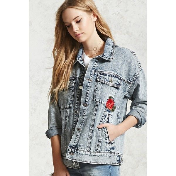 Forever21 Embroidered Denim Jacket ($35) ❤ liked on Polyvore featuring outerwear, jackets, medium denim, acid wash jean jacket, long jean jacket, acid wash jackets, wolf jacket and embroidered denim jacket