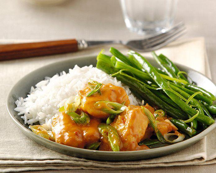 Recept curry met vis, sperziebonen en rijst recept