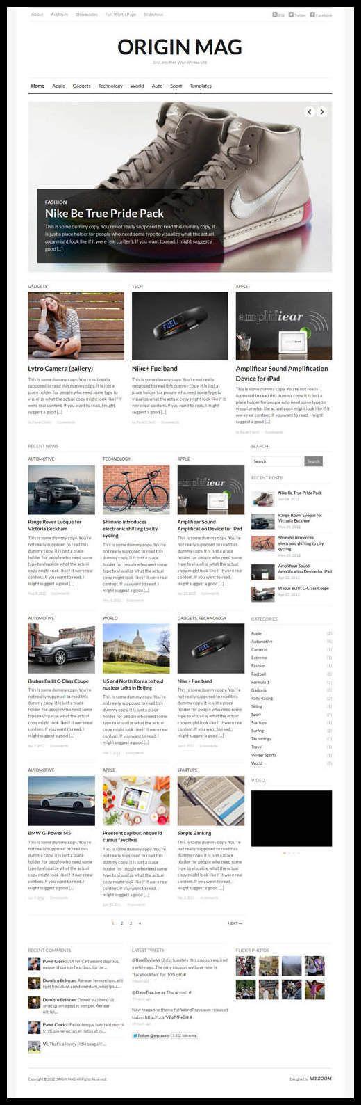 WPZOOM - OriginMag WordPress Theme Review