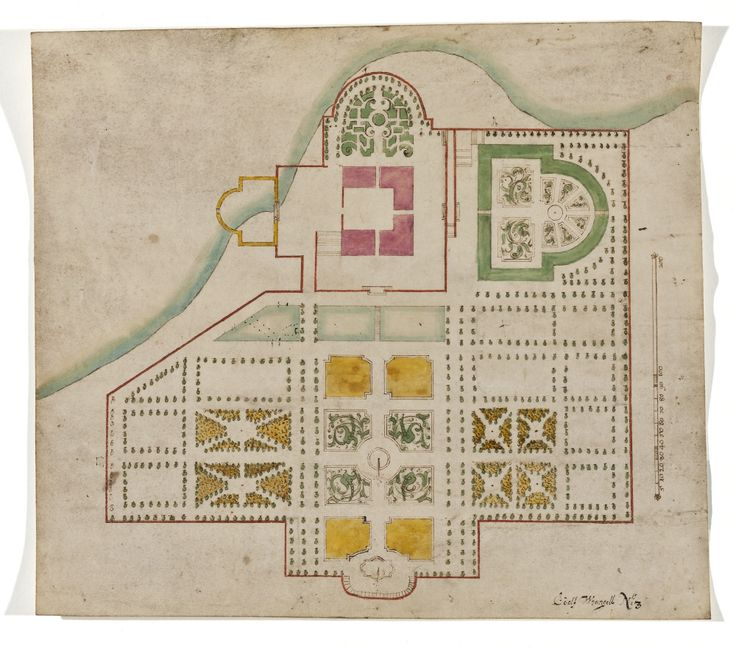 Byggnads- och parkritning i vattenfärg, 1600-talet. /Construction plan of building and park, 17th century.