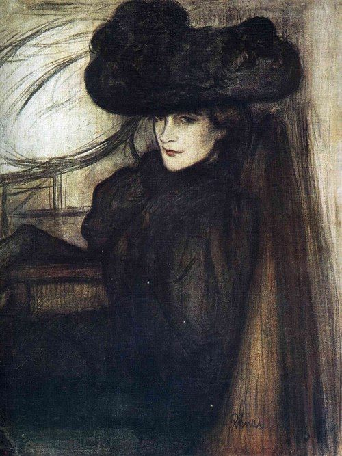 Magyar Nemzeti Galéria, Budapest, 1896.      The painting depicts the paintress Madame Mazet as the embodiment of cosmopolitan 'fin de siecle' woman. The painter intends her to be an ambiguous figure; while she appears to be in a mood of mourning, her facial expression is enigmatic, hinting at something possibly frivolous anf flirtatious, even a touch of 'femme fatale'.