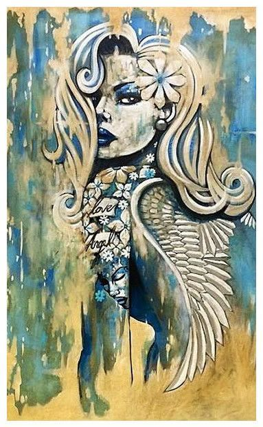 Love Angel by Terry Bradley #Irish #artist #Belfast #original #print #paper #canvas #sexy #strong #woman #women #tattoo #burlesque #model #modelling #terrybradley #NewYork #Paris #art #gallery #buy #collect #postage #free #shipping #RonanKeating #Harley #Davidson #Nokia
