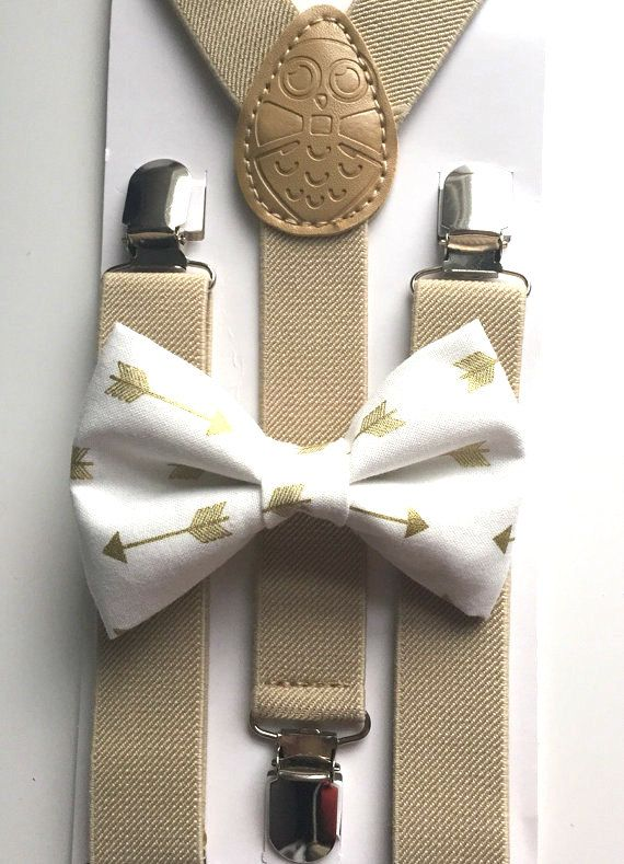 Tan suspenders + Matching Gold Arrows Bow Tie kids children toddler baby boys boy teens adult gold family photos photo prop holiday picture