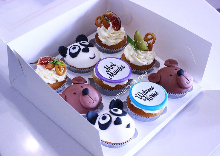 So pretty cupcake. #cupcake #cupcakebear #panda #cake  Капкейки с Мишками