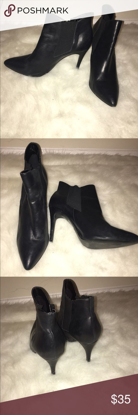 River Island Heeled Booties Black Leather Boots with a 4 inch heel. Worn twice. River Island Shoes Heeled Boots