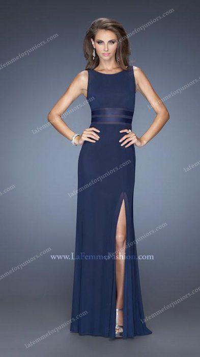 Jersey Side Slit Sheer Stripes Sophisticated Homecoming Dress by La Femme