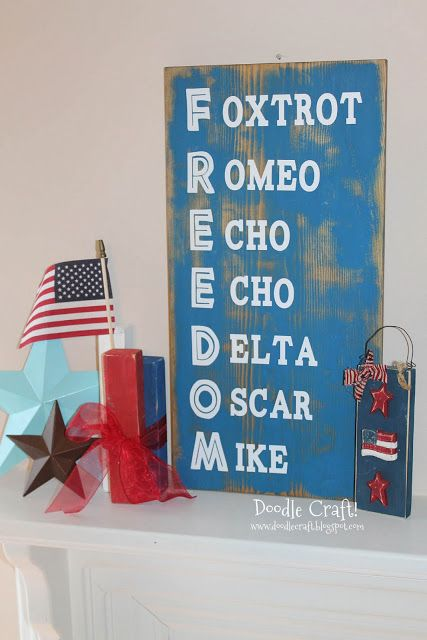 Phonetic Alphabet Freedom Distressed Sign! This would be so cute for fourth of July party here