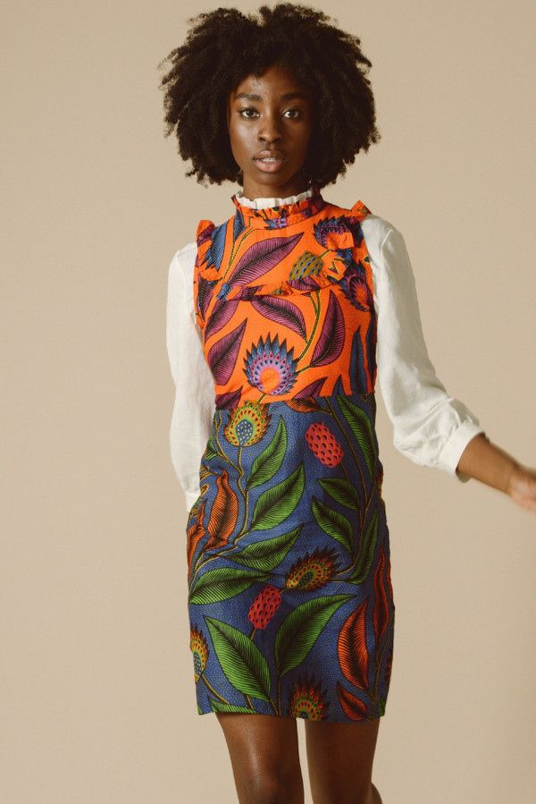 b880e35740c4c Sustainably made dress in orange and blue from Mayamiko on MAMOQ. Made from  ethically sourced cotton in Malawi. Mayamiko plants one tree for every  order in ...