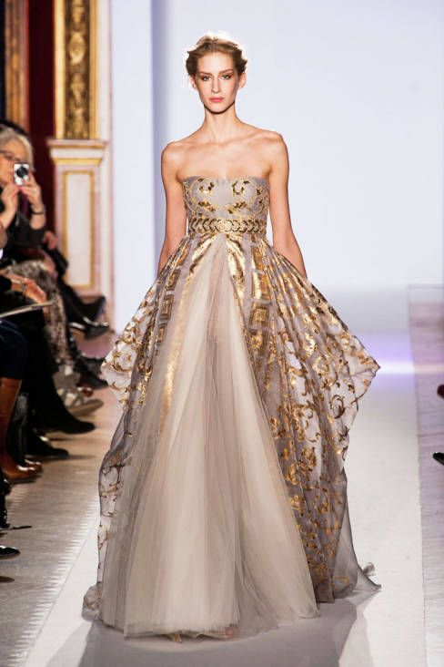 Strapless romantic gown with golden embellishments Zuhair Murad Spring Summer Couture 2013