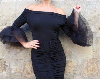 HOLIDAY Black bodycon dress Midi dress by cherryblossomsdress