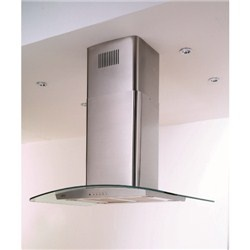 Belling 90 DIH Curved Glass 90cm Island Hood in Stainless steel