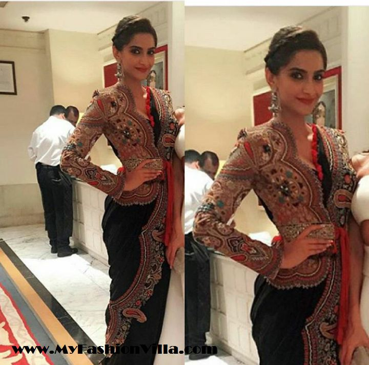 Sonam Kapoor in Anamika Khanna Saree for Masaba's Sangeet #SonamKapoor #AnamikaKhanna