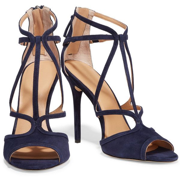 Halston Heritage Monica suede sandals (1,900 HKD) ❤ liked on Polyvore featuring shoes, sandals, navy shoes, high heel sandals, navy blue shoes, almond toe shoes and zipper sandals