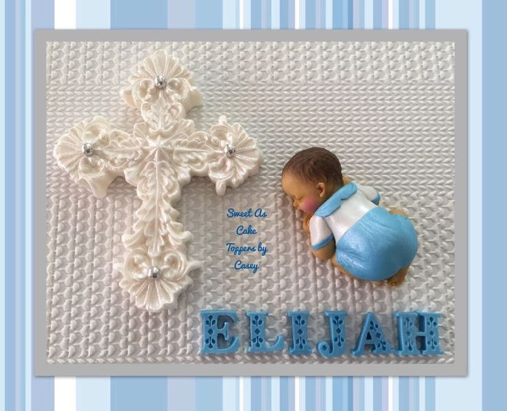 Baby Boy + Cross + FIRST NAME Christening Cake Topper. Decoration. Baptism  | eBay