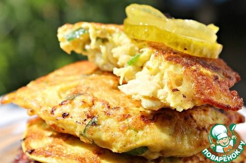 Кулинарный рецепт. Оладушки из кабачков и куриной грудки.