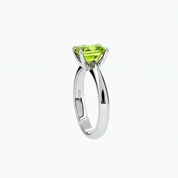 Solitaire Ring with Emerald Cut Peridot in Platinum