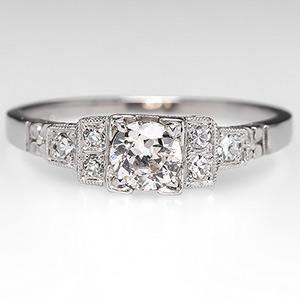 Antique 1930's Engagement Ring w/ Old Euro Diamond Platinum