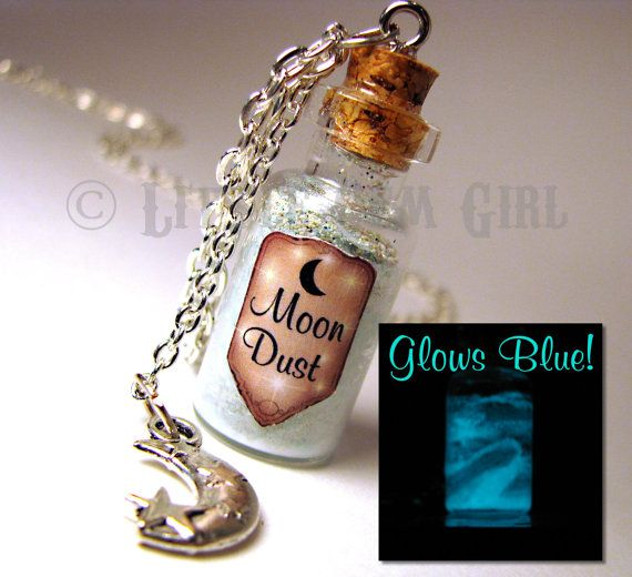 Moon Dust Necklace Glow in the Dark Glass Bottle Cork Necklace - Space Galaxy Ice Blue - Magic Spells Potion Vial Charm