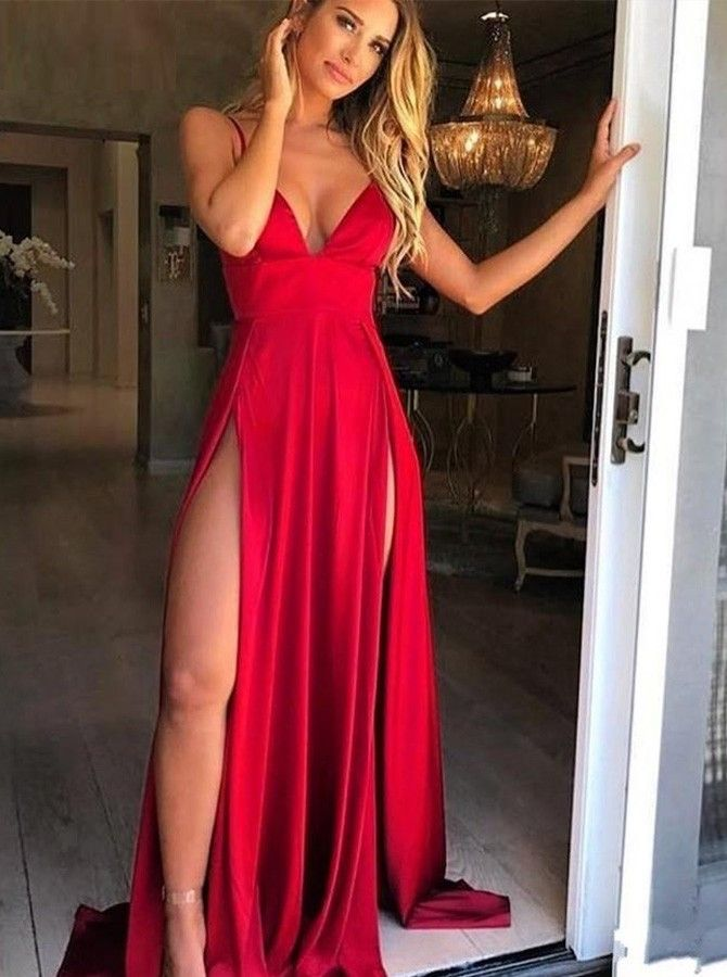 b4a5e23669 Sheath Spaghetti Straps Sweep Train Prom Dress with Split in 2019 ...