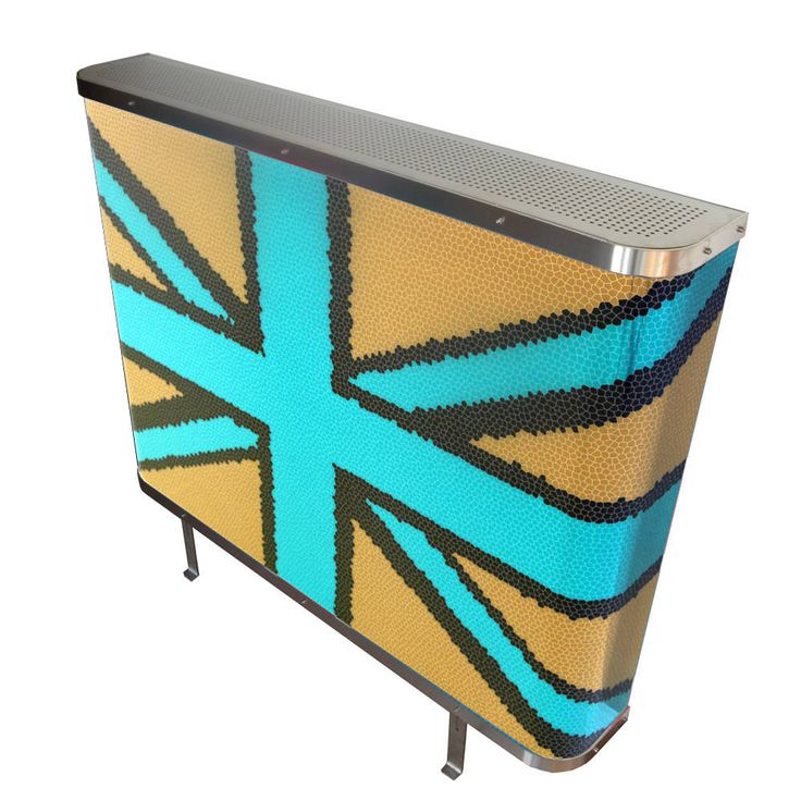YOYO Mosaic Union Jack radiator cover in Cream and Cyan Blue (From Modern Radiator Covers and Window Shutters)