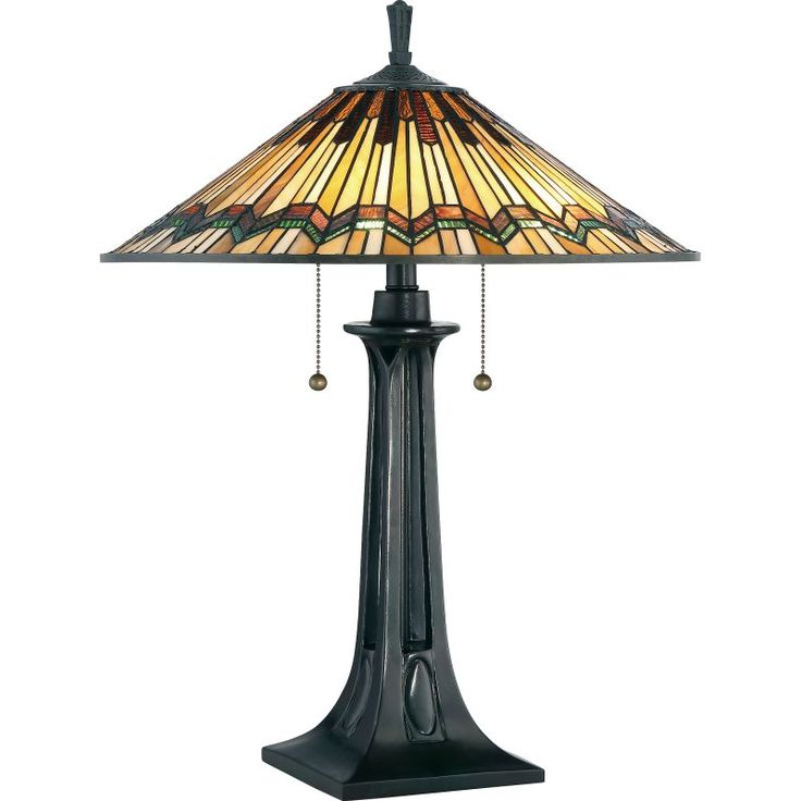 """Quoizel TFAT6325 Alcott 2 Light 25"""" Tall Accent Table Lamp with Tiffany Glass Co Valiant Bronze Lamps Table Lamps Accent Lamps"""