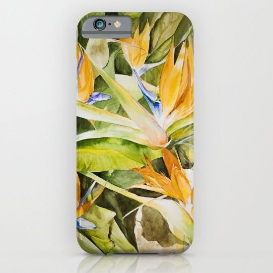 flowers bird of paradise watercolour iPhone & iPod Case