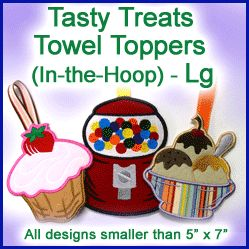 A Tasty Treats Towel Toppers (In-the-Hoop) Design Pack - Lg