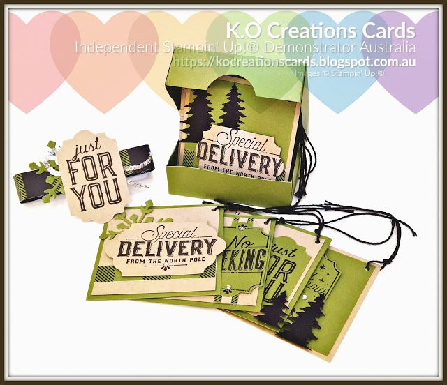 KOCreations Stampin' Up! Blog: Ink It Stamp It DT Blog Hop - 3D project, Christmas, Christmas Gifts, DIY Christmas, Boxed gifts, DIY Box, Gift Tags