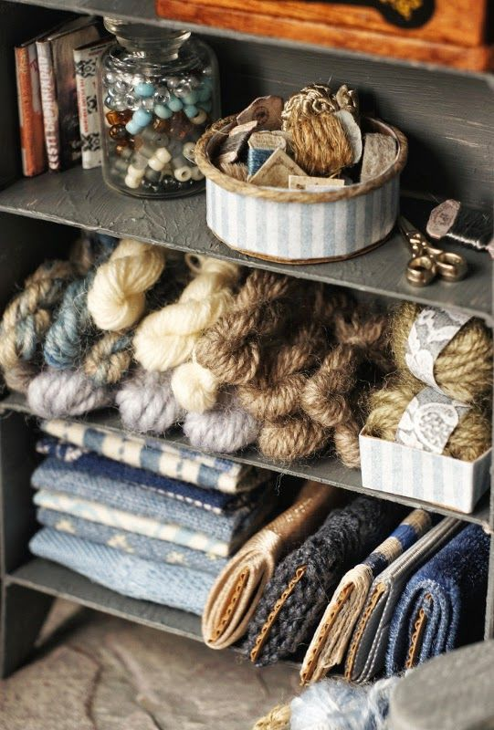 The Little Craft Cottage: miniature fabric and yarn stash. No real tutorial but explanation of materials used to make.