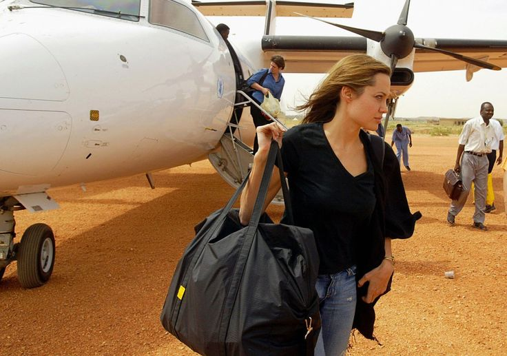 Angelina Jolie arrives at the El-Geneina airport in West Darfur as the Goodwill Ambassador for the United Nations High Commission for Refuge...