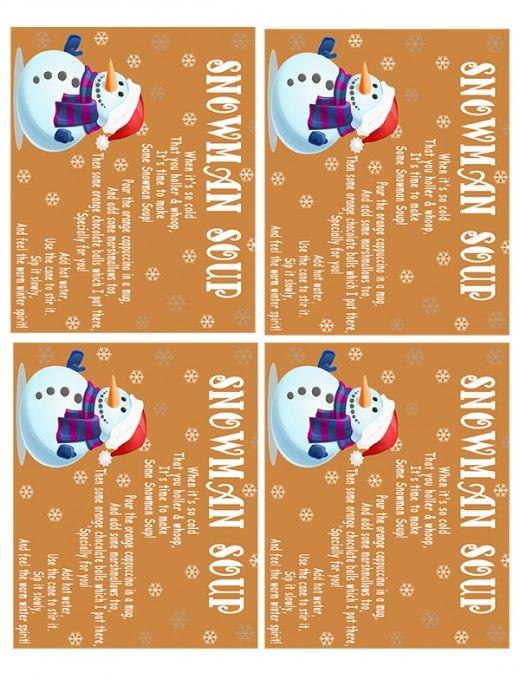 snowman soup labels recipes snowman snowman soup printables snowman ...